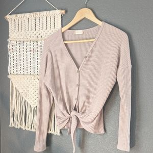 Altar'd State Waffle Knit Front Tie Top